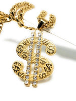"Hip Hop Gold Plated Iced Out CZ Big XL Dollar Sign Pendant 30"" Cuban Link Chain - Fran & Co. Jewelry"