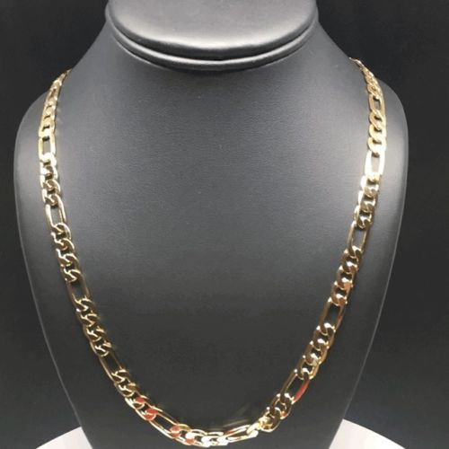 "Gold Plated 26"" Figaro Chain 7mm / Cadena Figaro 26"" Oro Laminado 7mm - Fran & Co. Jewelry"