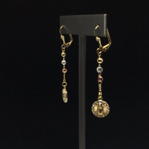 Gold Plated Virgin Mary Earrings with White Stones / Aretes De Oro Laminado De Virgen De Guadalupe Tres Colores Piedras Blancas - Fran & Co. Jewelry