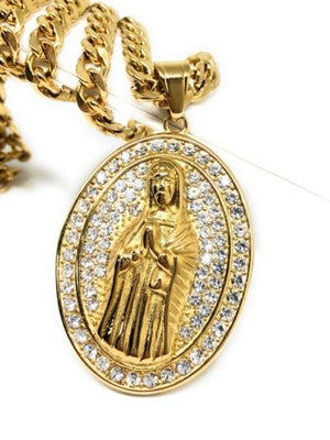 "Hip Hop Gold Plated Iced Out Guadalupe Virgin Mary Pendant 30"" Cuban Link Chain - Fran & Co. Jewelry"