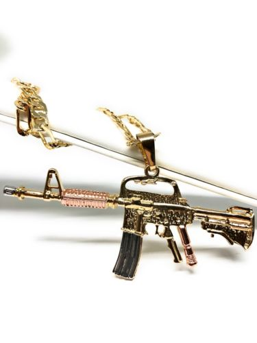 "Gold Plated Cuerno De Chivo Tres Colores Machine Gun Pendant Necklace Cadena Oro Laminado 26"" - Fran & Co. Jewelry"