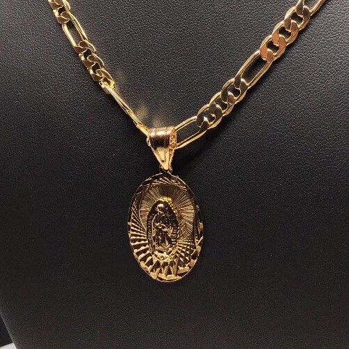 "Gold Plated Small Virgin Mary Pendant with 26"" Chain / Virgen De Guadalupe Medalla Cadena De 26"" Oro Laminado - Fran & Co. Jewelry"