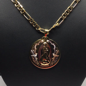 "Gold Plated Tri-Color Virgin Mary Pendant 26"" Chain / Virgen Guadalupe Medalla Pendant Necklace 26"" Tres Colores Cadena oro laminado - Fran & Co. Jewelry"