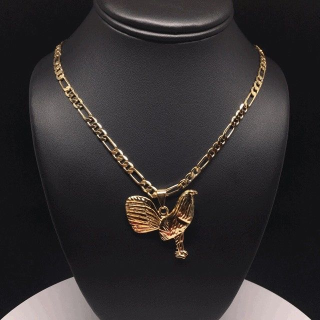 "Gallo Medalla Gold Plated Chicken Rooster Pendant Necklace 26"" Cadena Oro Lamina - Fran & Co. Jewelry"