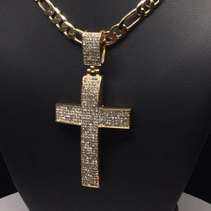 "Men Hip Hop Gold Plated Iced Out Cross CZ Pendant Necklace 26"" Figaro Chain 7mm - Fran & Co. Jewelry"