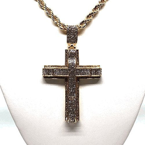 "Men's Hip Hop Gold Plated Iced Out Cross CZ Pendant Necklace 30"" Rope Chain 6mm - Fran & Co. Jewelry"
