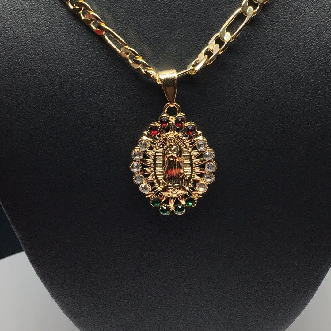 "Gold Plated Virgin Mary Pendant With Color Stones 26"" Chain / Virgen de Guadalupe Medalla Con Piedras de Color Cadena 26"" Oro Laminado - Fran & Co. Jewelry"