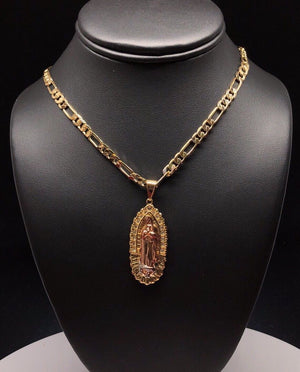 "Gold Plated Tri-Color Virgin Mary White Stone Pendant 26"" Chain  / Virgen De Guadalupe Medalla Tres Colores Cadena 26"" Oro Laminado - Fran & Co. Jewelry"
