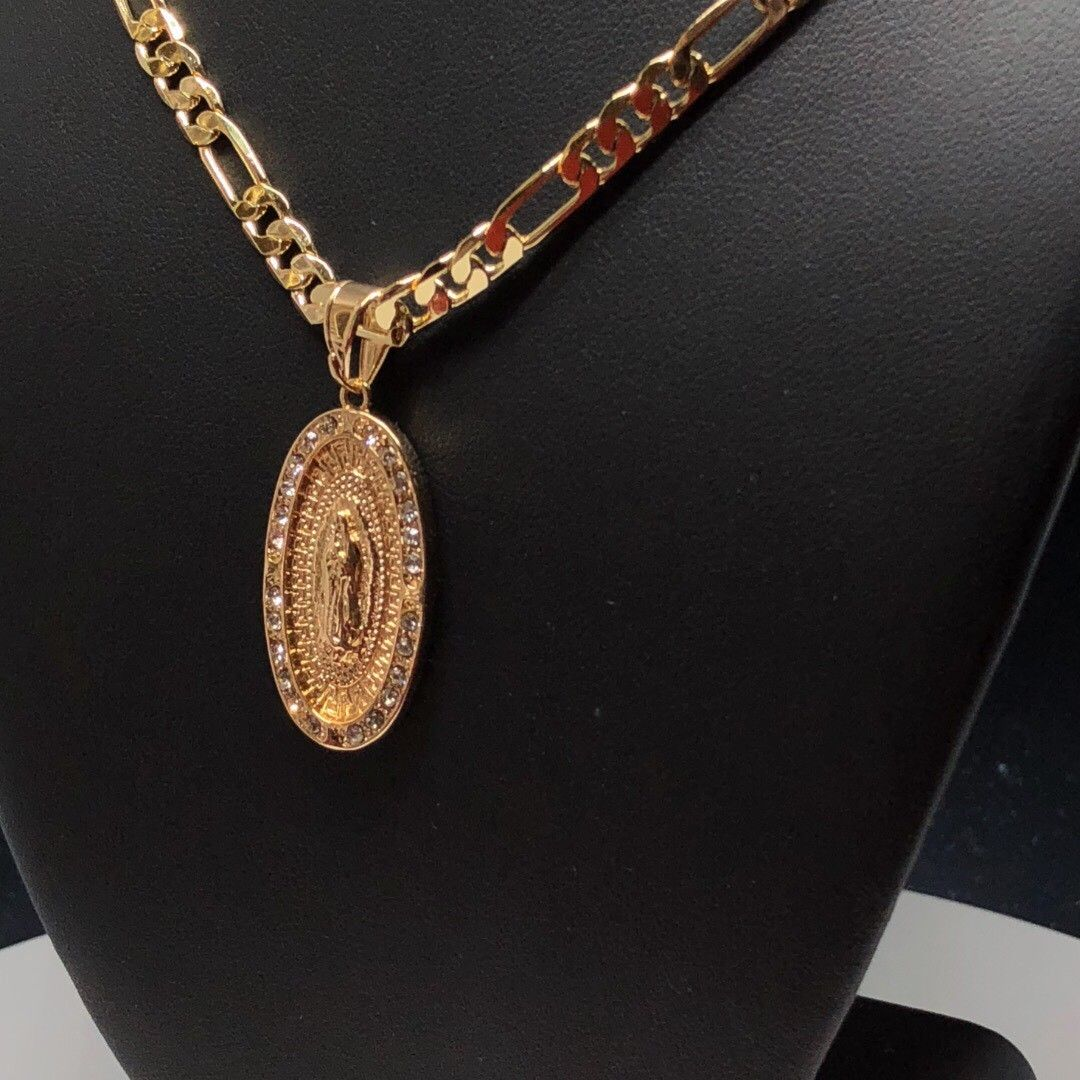 "Gold Plated Virgin Mary Pendant White Stones 26"" Chain / Virgen De Guadalupe Necklace Medalla Piedras Blancas Cadena 26"" Oro Laminado - Fran & Co. Jewelry"