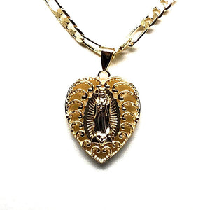 "Gold Plated Virgin Mary Heart Pendant Necklace Figaro 26"" Corazon Virgen de Guadalupe Medalla Oro Laminado - Fran & Co. Jewelry"