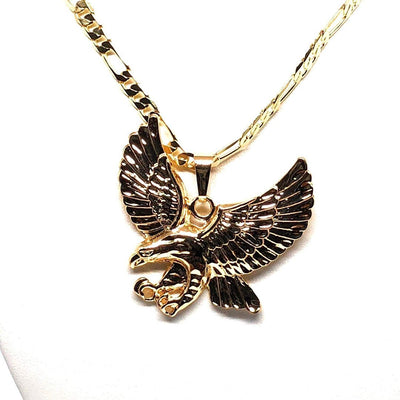 "Gold Plated Eagle Pendant Necklace Figaro 26"" Aguila Grande de Oro Laminado - Fran & Co. Jewelry"