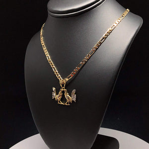 "Gold Plated Chicken Rooster Pendant Necklace Figaro 24"" 4mm Dos Gallo Medalla Oro Laminado - Fran & Co. Jewelry"