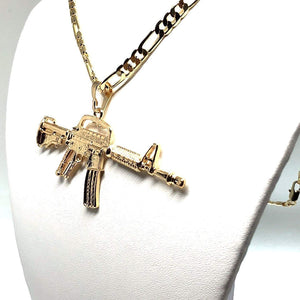 "Gold Plated Machine Gun Pendant Necklace Figaro 26"" Cuerno de Chivo Medalla Oro Laminado - Fran & Co. Jewelry"