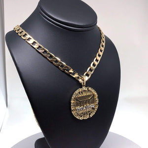 "Men Iced Out Hip Hop Gold Plated Last Supper CZ Pendant Necklace 30"" Cuban Link Chain 9mm - Fran & Co. Jewelry"