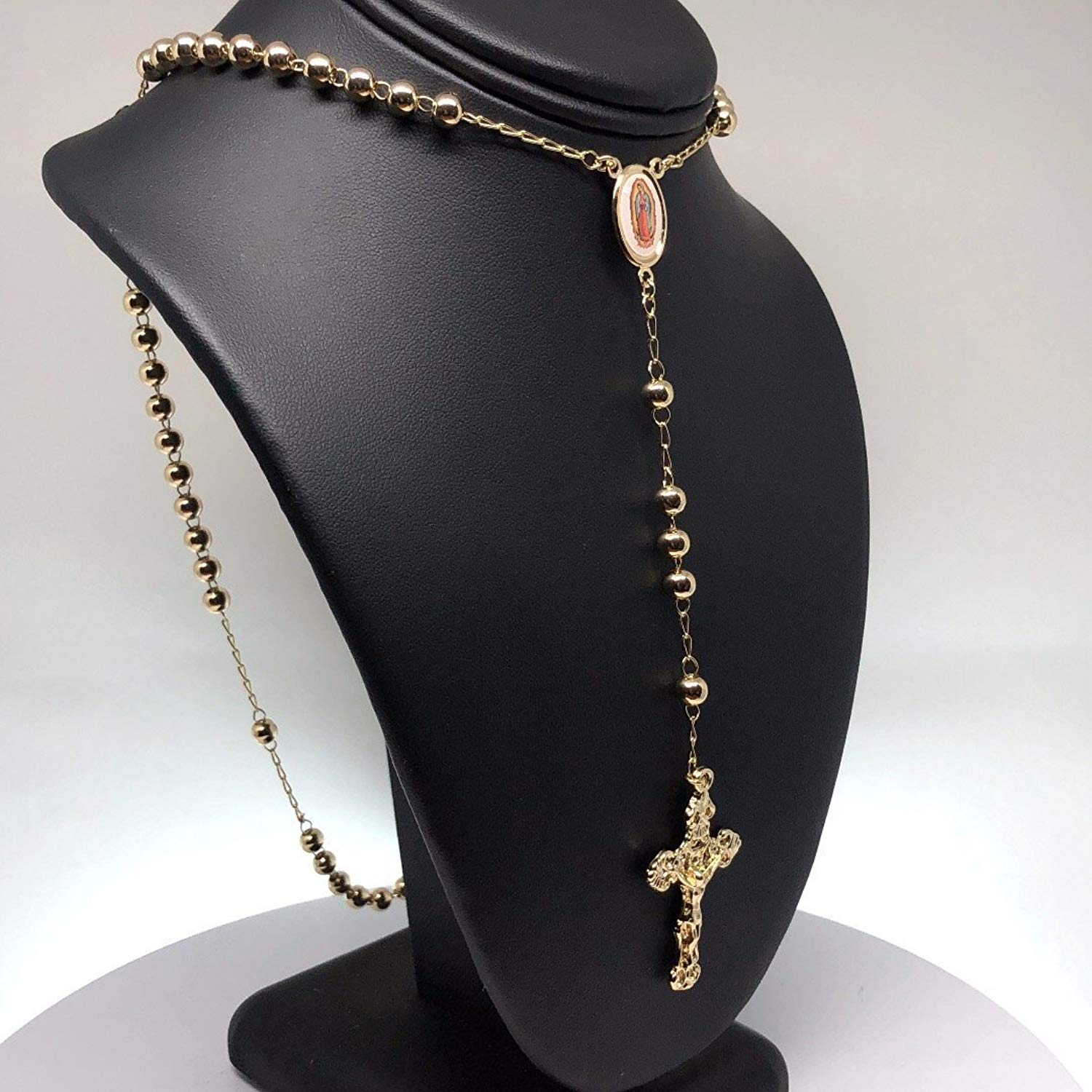 "Gold Plated Virgin Mary Rosary Necklace Virgen de Guadalupe Rosario Crucifijo 26"" - Fran & Co. Jewelry"