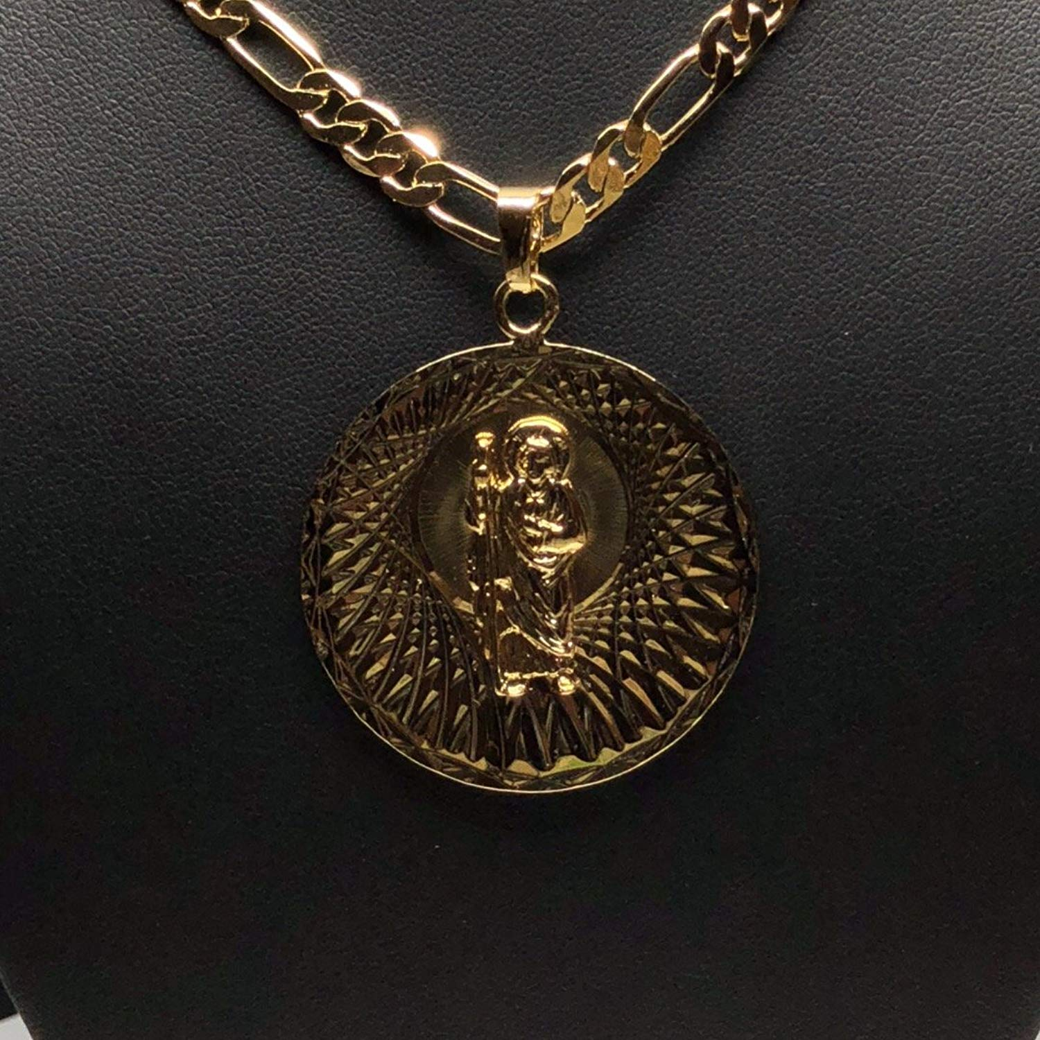 "Gold Plated Saint Jude Pendant Necklace Figro 26"" San Judas Tadeo Medalla Oro Laminado Figaro - Fran & Co. Jewelry"