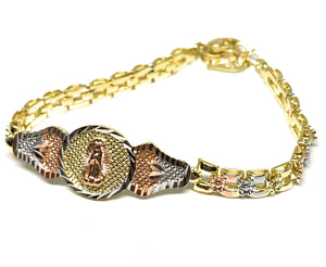 "Gold Plated Tri-Color Virgin Mary Bracelet Virgen De Guadalupe Pulsera Tres Colores Oro Laminado 8"" - Fran & Co. Jewelry"