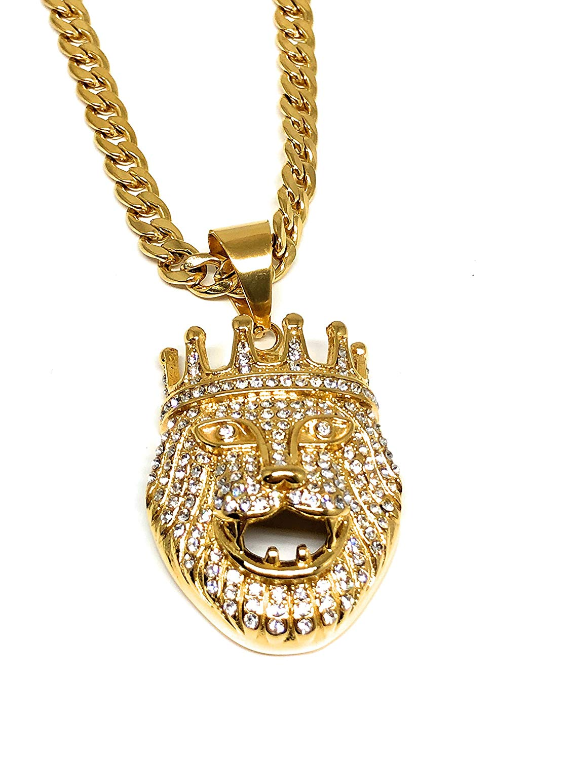 "Men's Hip Hop Gold Plated Iced Out Lion Crown Face Head Pendant Necklace 30"" Cuban Link 7mm - Fran & Co. Jewelry"