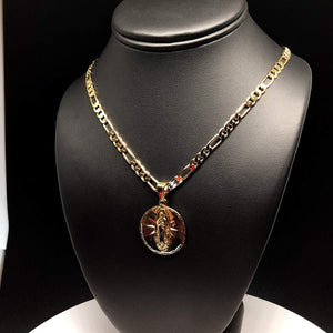 "Gold Plated Tri-Color Virgin Mary Pendant Necklace 26"" Virgen De Guadalupe Medalla Tres Colores Oro Plated - Fran & Co. Jewelry"