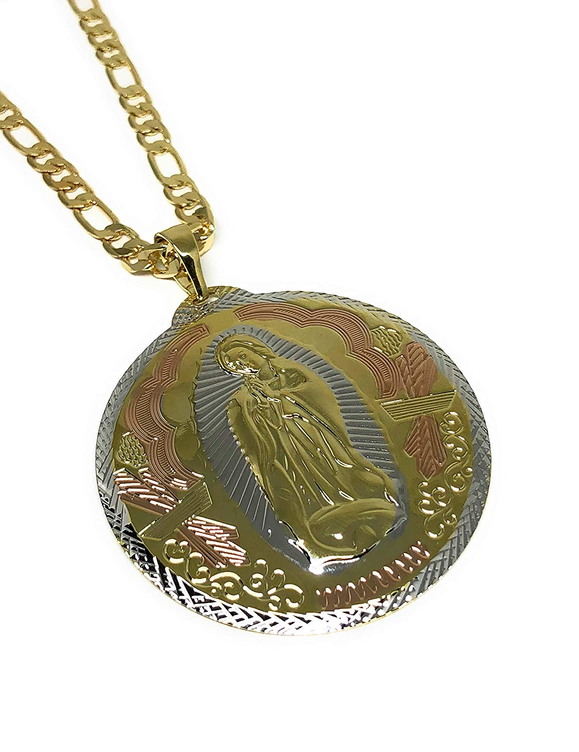 "Gold Plated Big XL Tri-Color Virgin Mary Pendant / Virgen Guadalupe Tres Colores XL Grande Medalla Pendant Necklace Chain 26"" - Fran & Co. Jewelry"