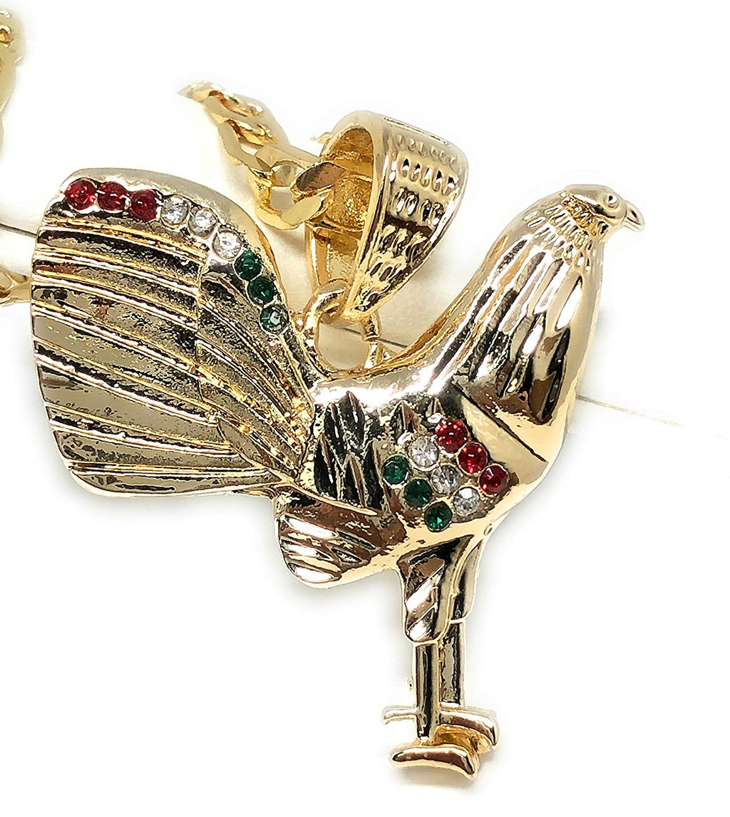 "Gold Plated Chicken Rooster Pendant Necklace Figaro 26"" 5mm Gallo Medalla Oro Laminado - Fran & Co. Jewelry"