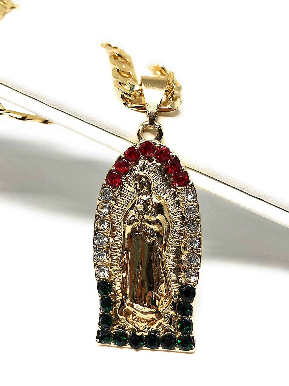 "Gold Plated Virgin Mary Pendant Necklace Virgen de Guadalupe Medalla Cadena 26"" Oro Laminado - Fran & Co. Jewelry"