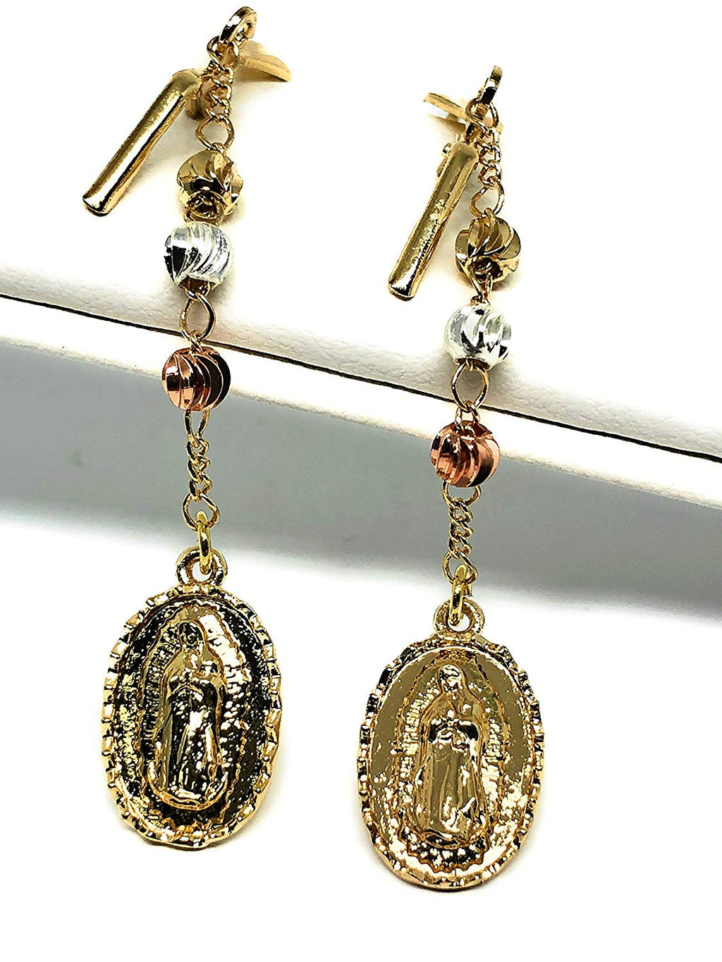 Gold Plated Tri Color Virgin Mary Earrings Aretes Oro Laminado Virgen De Guadalupe Tres Colores - Fran & Co. Jewelry