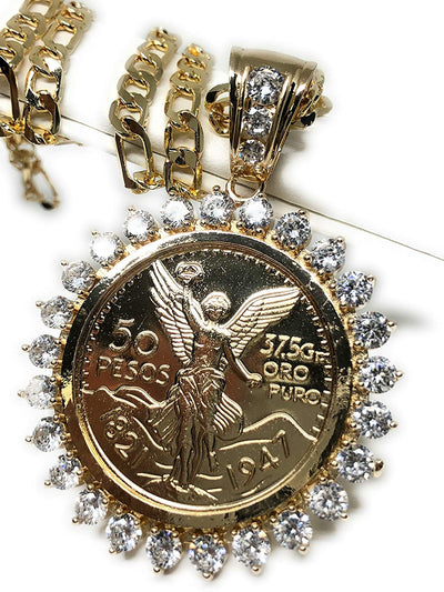 "Gold Plated Coin Centenario Mexicano Moneda 50 Pesos Pendant Chain CZ Oro Cadena 26"" - Fran & Co. Jewelry"