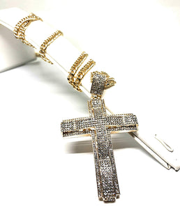 "Men's Hip Hop Gold Plated Iced Out Cross CZ Pendant Necklace 30"" Cuban Link Chain 6mm - Fran & Co. Jewelry"