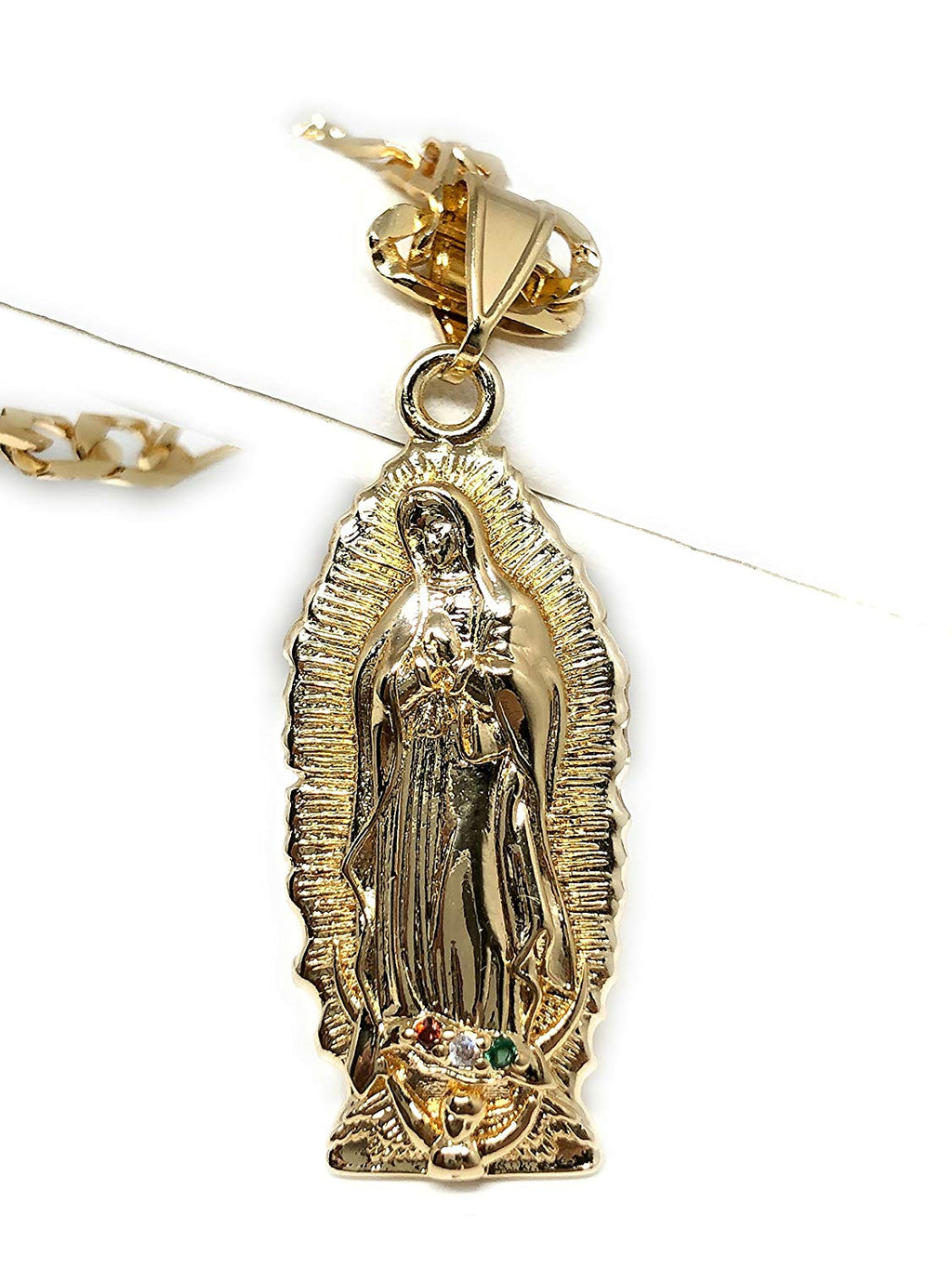 "Gold Plated Virgin Mary Pendant Necklace Figaro 26"" Virgen de Guadalupe Medalla Oro Laminado - Fran & Co. Jewelry"