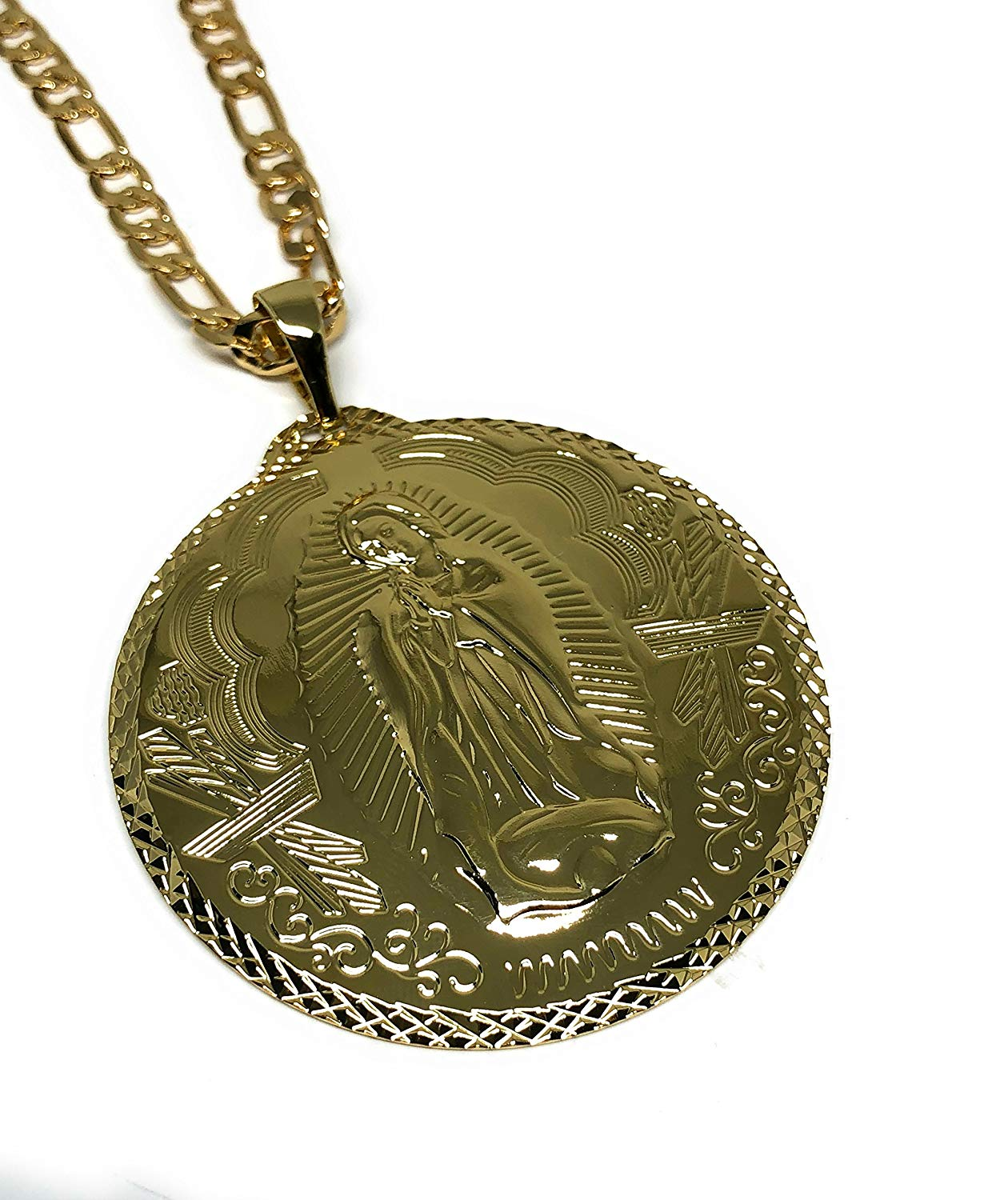 "Gold Plated Big XL Virgin Mary Pendant / Virgen Guadalupe XL Grande Medalla Pendant Necklace Chain 26"" - Fran & Co. Jewelry"