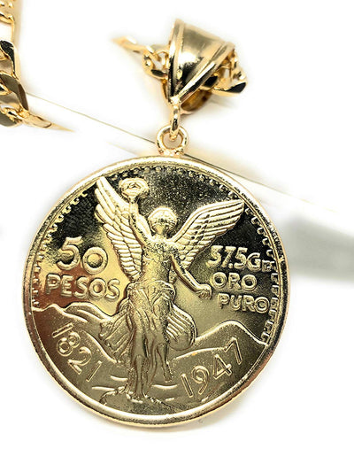 "Gold Plated Mexican Coin Centenario Mexicano Moneda 50 Pesos Pendant Chain 26"" - Fran & Co. Jewelry"