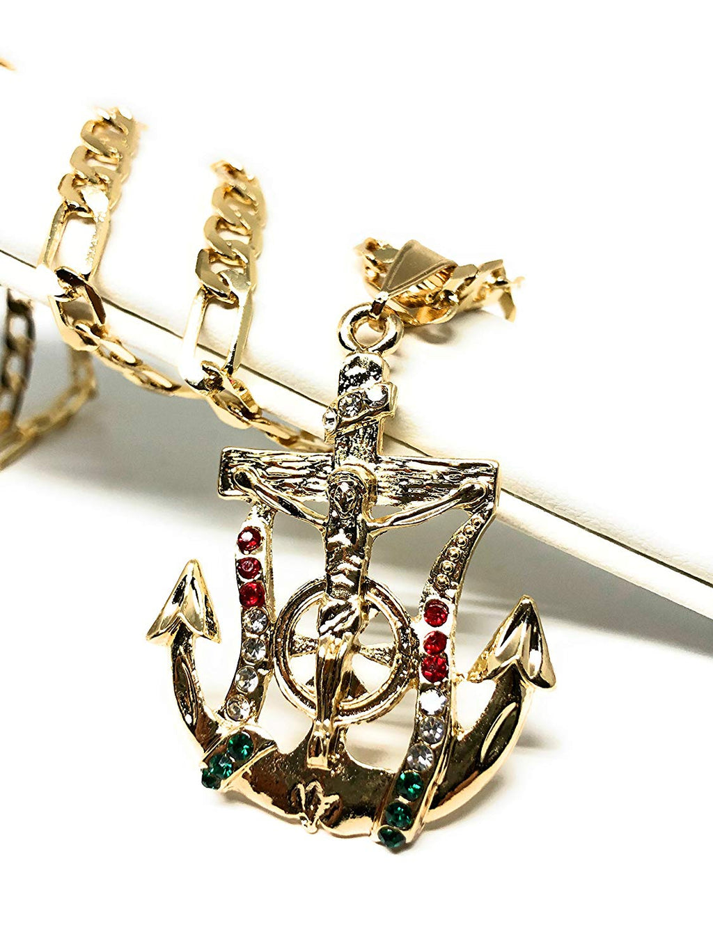 "Gold Plated Jesus Crucifix Anchor Pendant Necklace Figaro 26"" Jesus Crucifijo Ancla Medalla - Fran & Co. Jewelry"