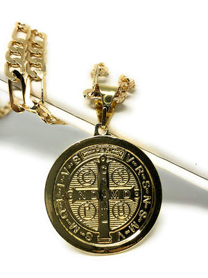 "Gold Plated Saint Benedict Medal Pendant Necklace San Benito Medalla Oro Figaro 26"" - Fran & Co. Jewelry"