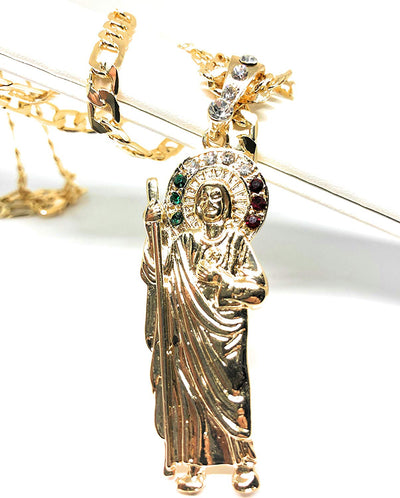 "Gold Plated Saint Jude Pendant Necklace Figaro 26"" San Judas Tadeo Medalla Con Cadena De Oro Laminado - Fran & Co. Jewelry"
