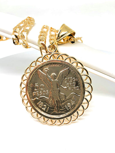 "Gold Plated Jewelry Gold Plated Mexican Coin Mexican Centenario Mexicano Replica de Oro Laminado Con Cadena de 26"" - Fran & Co. Jewelry"