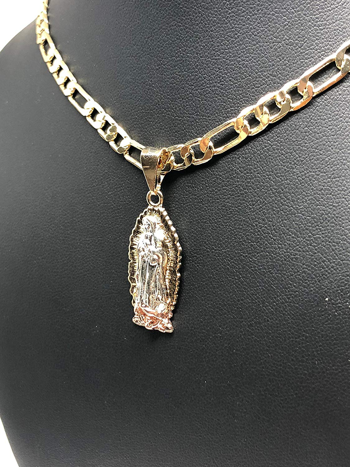 "Gold Plated Tri-Color Virgin Mary Necklace Pendant Virgen de Guadalupe Medalla Tres Colores Cadena 26"" - Fran & Co. Jewelry"