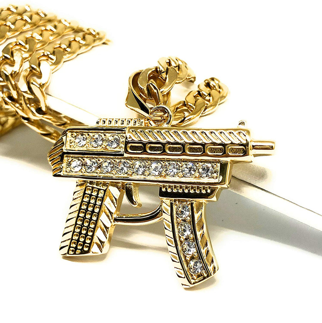 "Men's Hip Hop Gold Plated Iced Out Uzi Machine Gun Pendant Necklace 30"" Cuban Link Chain 7mm - Fran & Co. Jewelry"