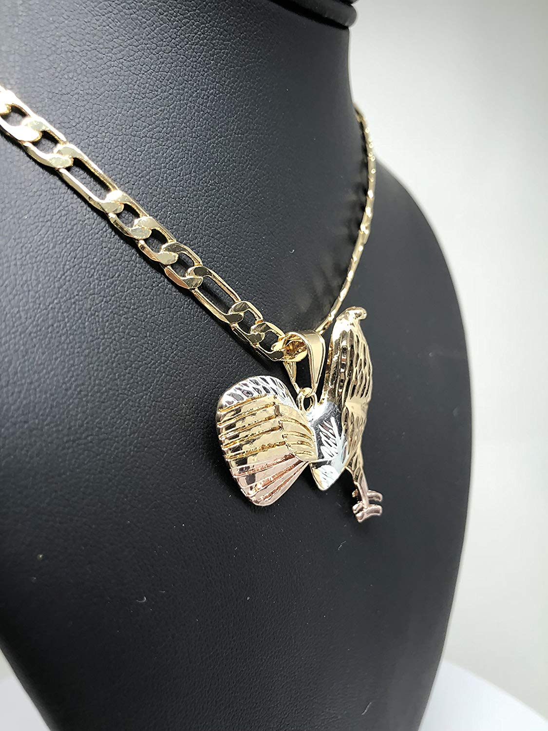 "Gold Plated Tri-Color Chicken Rooster Pendant Necklace Figaro 26"" Gallo Medalla Oro Laminado - Fran & Co. Jewelry"