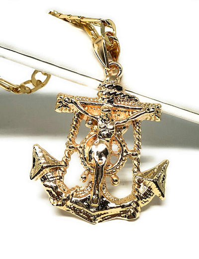 "Gold Plated Jesus Crucifix Anchor Pendant Necklace 26""  / Jesus Ancla Crucifijo Cadena Oro Laminado - Fran & Co. Jewelry"