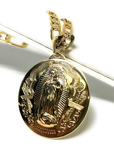 "Gold Plated Virgen Guadalupe Medalla Pendant Necklace Chain 26"" Gold Plated Virgin Mary Pendant - Fran & Co. Jewelry"