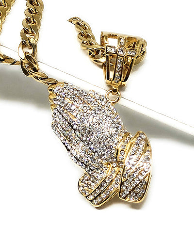 "Men's Gold Plated Iced Out Hip Hop Big Prayer Hand CZ Pendant 30"" Cuban Link Chain 7mm - Fran & Co. Jewelry"