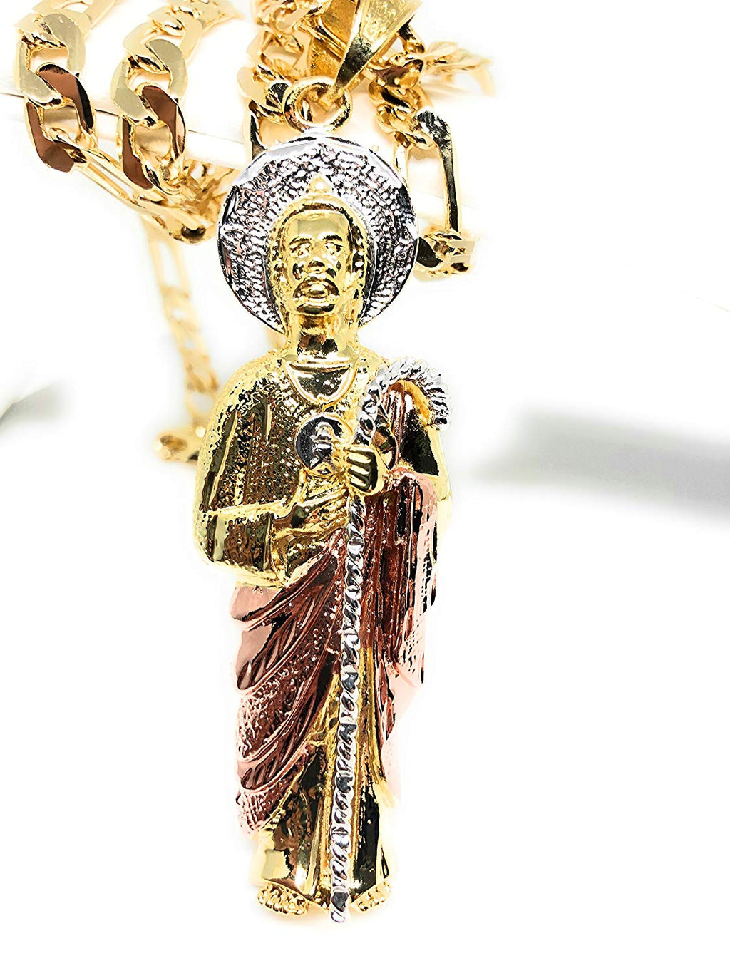 "Saint Jude Pendant Necklace Figaro 26"" San Judas Tadeo Tres Colores Medalla Con Oro Laminado - Fran & Co. Jewelry"