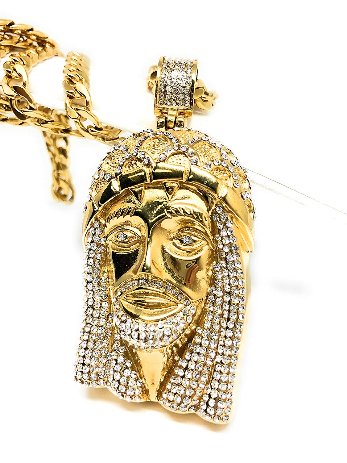 "Men Iced Out Hip Hop Gold Plated Big Jesus Face CZ Pendant 30"" Cuban Link Chain 7mm - Fran & Co. Jewelry"