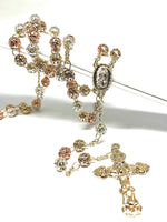 "Gold Plated Tri-Color Virgin Mary Rosary Necklace Virgen de Guadalupe Rosario Crucifijo Oro Tres Colores 26"" - Fran & Co. Jewelry"