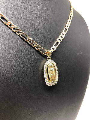 "Gold Plated Virgin Mary Pendant Necklace Figaro 24"" Chain Virgen de Guadalupe Medalla Piedras Blancas Oro - Fran & Co. Jewelry"