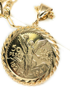 Mexican Centenario Coin Pendant Necklace Chain