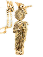 "Gold Plated Big Saint Jude Pendant Necklace Figaro 26"" San Judas Tadeo Medalla XL Cadena Oro - Fran & Co. Jewelry"