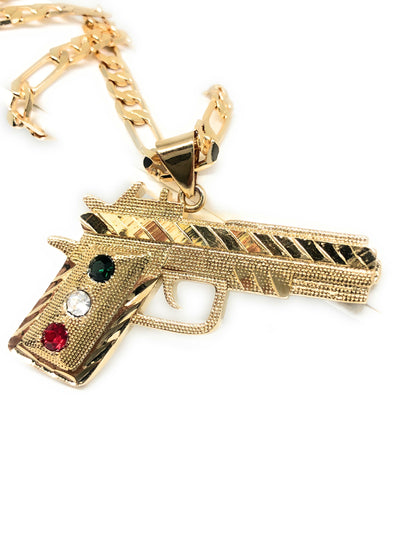 "Gold Plated 45 Caliber Gun Pendant Necklace Pistola 45 Calibre Medalla 26"" Figaro Chain 5mm - Fran & Co. Jewelry"