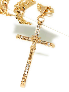 "Gold Plated Jesus Cross Crucifix 26"" Chain / Jesus Cruz Crucifijo Cadena Oro Lamindo 26"" - Fran & Co. Jewelry"